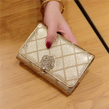 Europe and the United States the new short ladies fashion leather purse wallet cattle contracted little camellia ling lattice screens 3 fold wallet