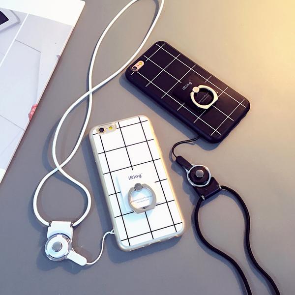 苹果iphone6S Plus手机壳6p日韩手机壳防摔指环扣情侣挂绳保护套