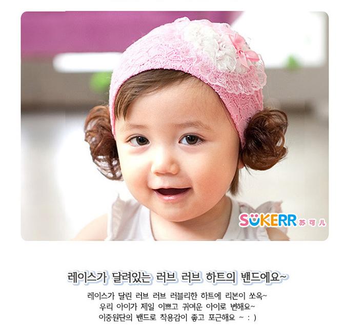 世博母婴 韩国儿童发饰蕾丝婴儿发带假发宝宝头带发箍女童头饰