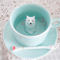 | Original three shallow ceramic coffee cups hand painted Satsuma dog creative birthday Valentines day gift Cup