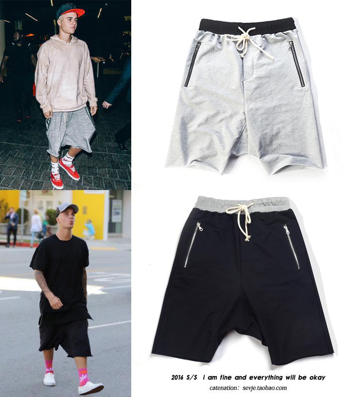 男裝嘻哈褲比伯同款五分褲街舞 哈倫短褲寬鬆吊襠5分褲馬褲潮