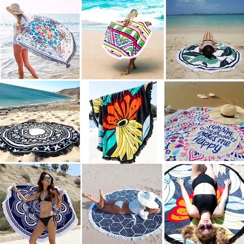 Кисточка негабаритный круглый песчаный пляж подушка коврик для йоги. бикини иностранных взять завернуть полотенце шаль приморский праздник песчаный пляж одеяло