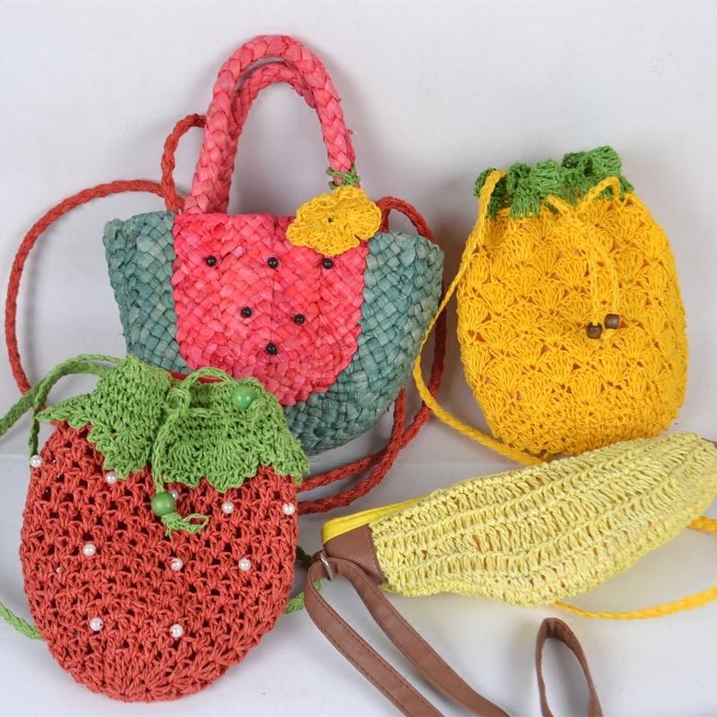 水果型草編包包菠蘿包香蕉包西瓜包草莓包斜挎包文藝範森女編織包