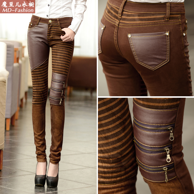 New leather pants in spring and autumn of 2019 womens zipper outerwear legged Pu pants