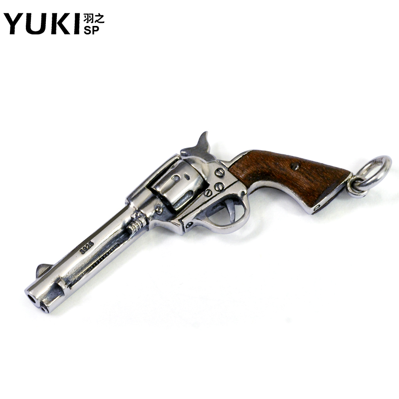 YUKI潮男士925银饰品左轮手枪吊坠流行泰银项链个性女生挂坠