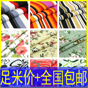 Flower color cotton canvas fabric sofa striped curtain fabric floral cloth tablecloths pastoral pillow