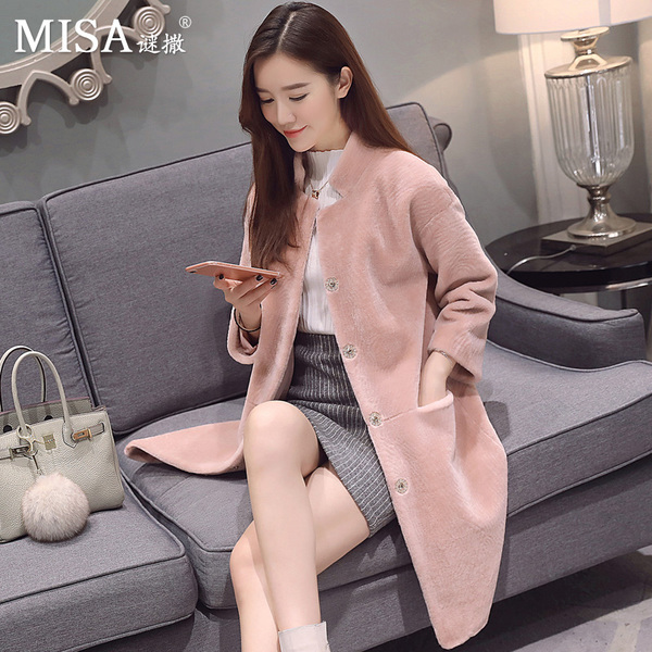 Enigma Caesar 2016 new Haining sheep shearing coat fur coat long section of female stand-up collar lambs wool Discounted
