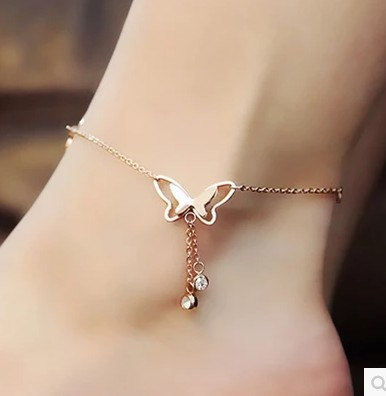 South Korea fashion temperament tassel single drill butterfly anklets 18 k rose gold plated titanium steel chains act the role ofing is tasted girl's gift