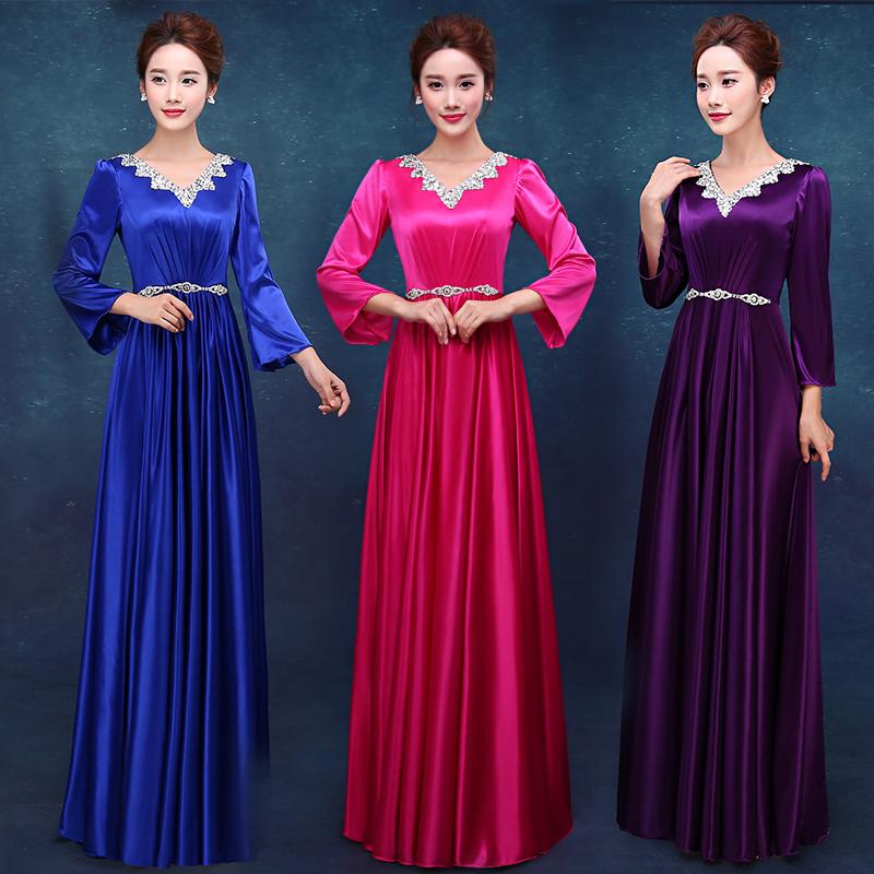 合唱服长裙2018新款礼服成人演出服装合唱团服装女士修身晚礼服春