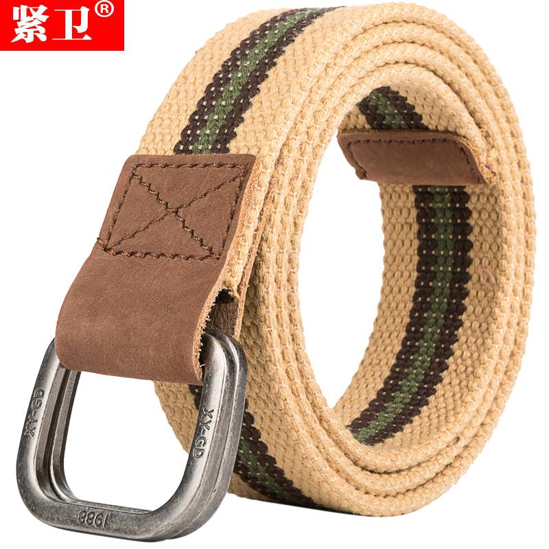 緊衛 頭層真牛皮布皮帶 雙環扣學生男士 編織牛仔褲帆布腰帶