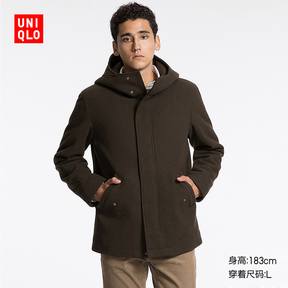 男裝 羊毛混紡連帽外套 178774 優衣庫UNIQLO