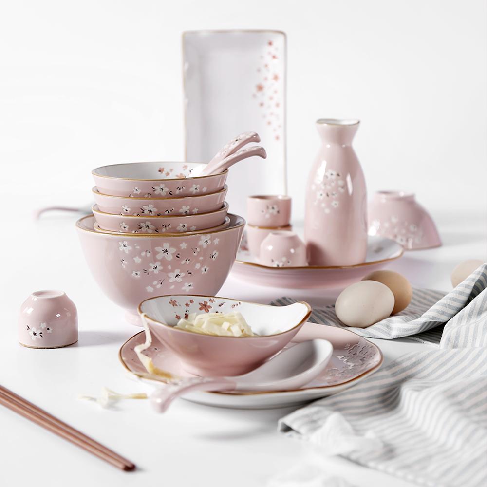 创意个性 日式樱花和风艺术手绘陶瓷礼盒餐具套装 乔迁新婚送礼
