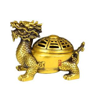 开光纯铜龙龟兴财摆件开盖八卦龙头龟镇宅招财风水装饰品
