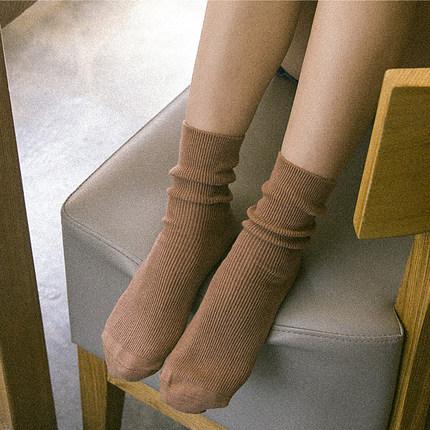 韩国风系夏季袜复古堆堆袜女棉袜短靴袜薄日系原宿中筒袜棉女袜子