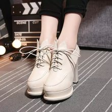 Han edition female high-heeled shoes single shoes in the fall of 2015 new waterproof leisure shoes joker with round head shoes