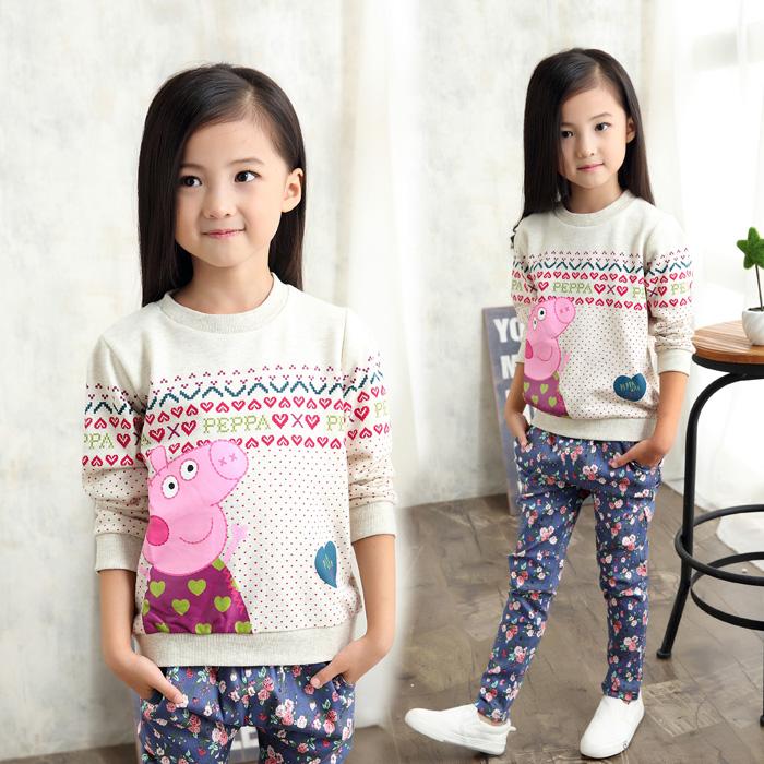 Весна 2016 новые девушки свитер подпружиненные верхней детской одежды младенца ребенка хлопок Pepe свинья рубашка