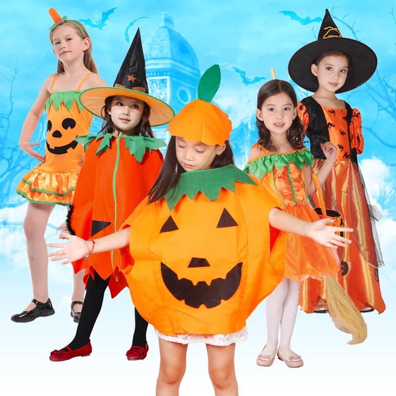 聖誕節兒童服裝女裝扮南瓜公主裙演出表演服飾萬聖節女巫衣服套裝