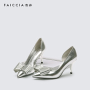 Faiccia/non sale spring/summer 2016 pointed shoes with bow rhinestone wedding shoes high heels shoes 1L03