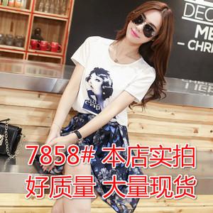 【大码女装】7858#夏季新款韩版修身梦露印花连衣裙女两件套裙