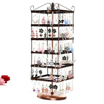 Metal 288-hole large square six-layer rotatable earrings display rack Jewelry frame jewelry display frame
