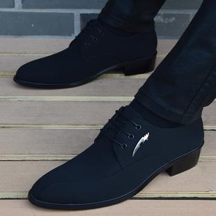 尖頭皮鞋男韓版英倫布面男鞋內增高商務休閒鞋時尚潮流髮型師皮鞋