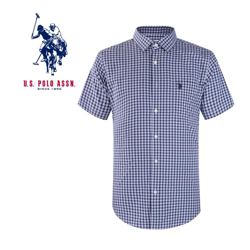 American Polo Association mens fashion business shirt Plaid short sleeve shirt mens slim fit