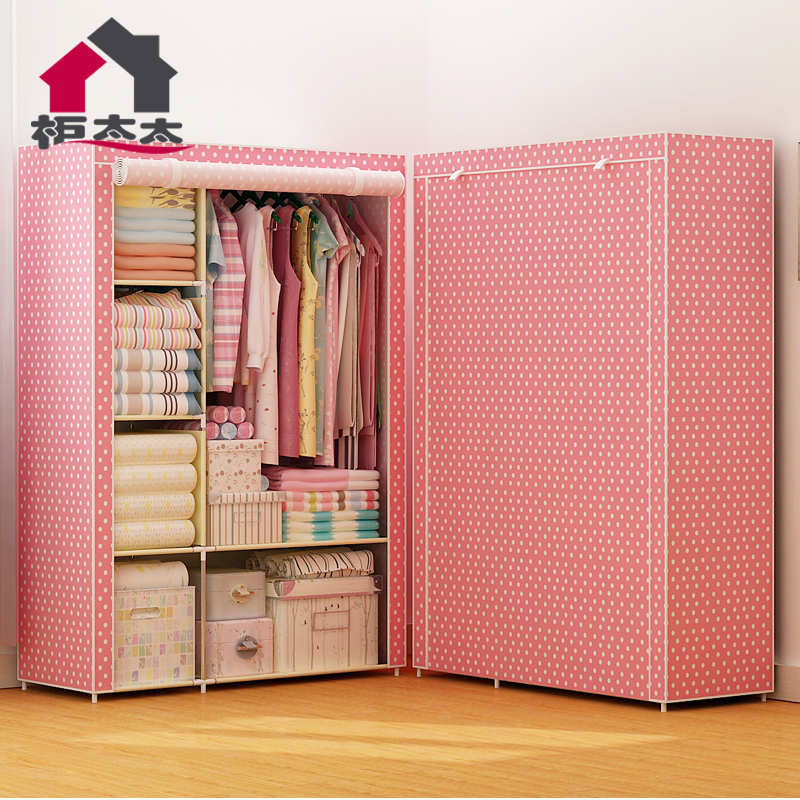 Гардероб легко ткань гардероб сложить сборка гардероб ткань стальная полка один простой современный экономического типа хранение гардероб