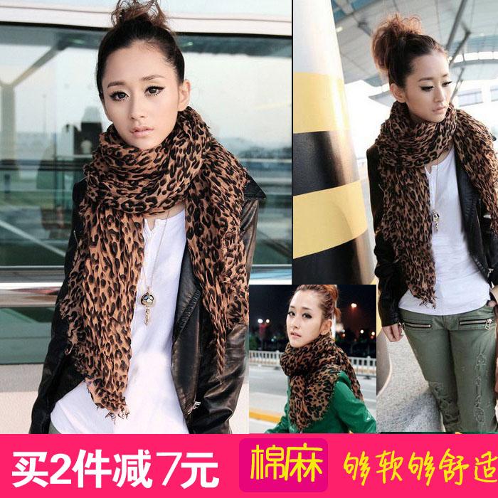 Искусство Вентилятор, чтобы держать теплой осенью и зимой и леопарда Шарф платок хлопка складки Ms Весна и осень двойного супер длинный шарф