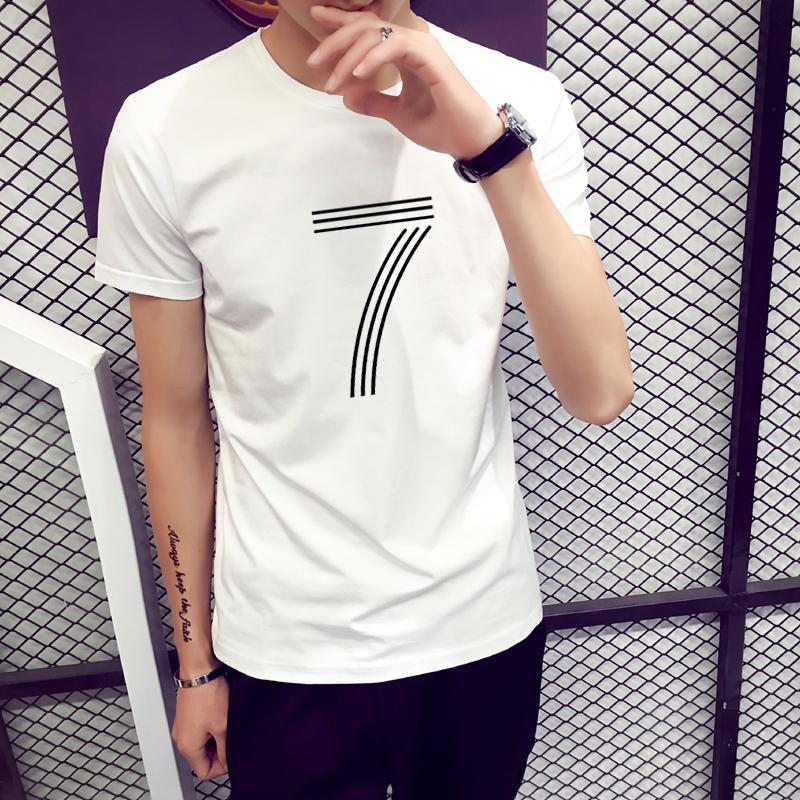速起男夏季 圆领男士短袖T恤 修身紧身纯色棉质白色打底衫上衣服
