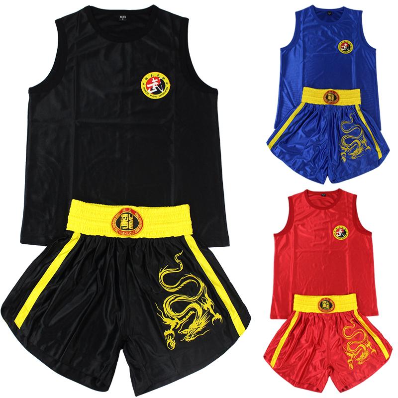 Электронной почты длиной вышивка, Вышивка атласная одежда костюмы бокс Санда Muay тайских боевых искусств Одежда шорты, Одежда верхняя одежда для мужчин и женщин