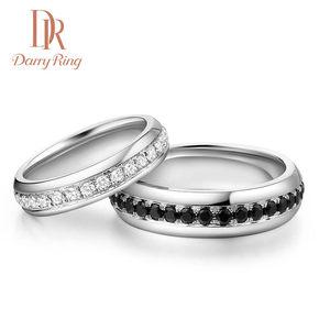 DarryRing戴瑞珠宝 结婚对戒彩钻黑钻石低调奢华白金情侣戒