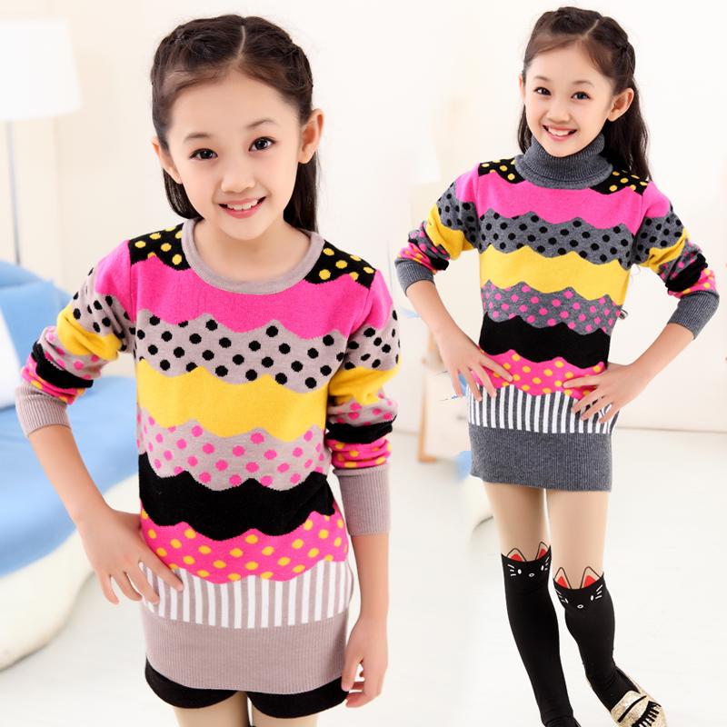 к 2015 году моды осень/зима новые девушки вязать долго покрыты хип аутентичные корейских детей кашемировый свитер водолазка свитер