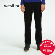 Westlink/West New 2015 winter recreation slim solid color knit straight zipper elastic man pants