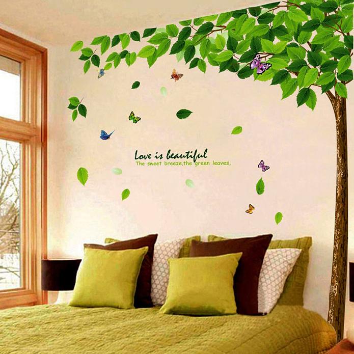 清新田园绿叶大树墙贴卧室温馨客厅沙发背景墙装饰品贴纸自粘贴画