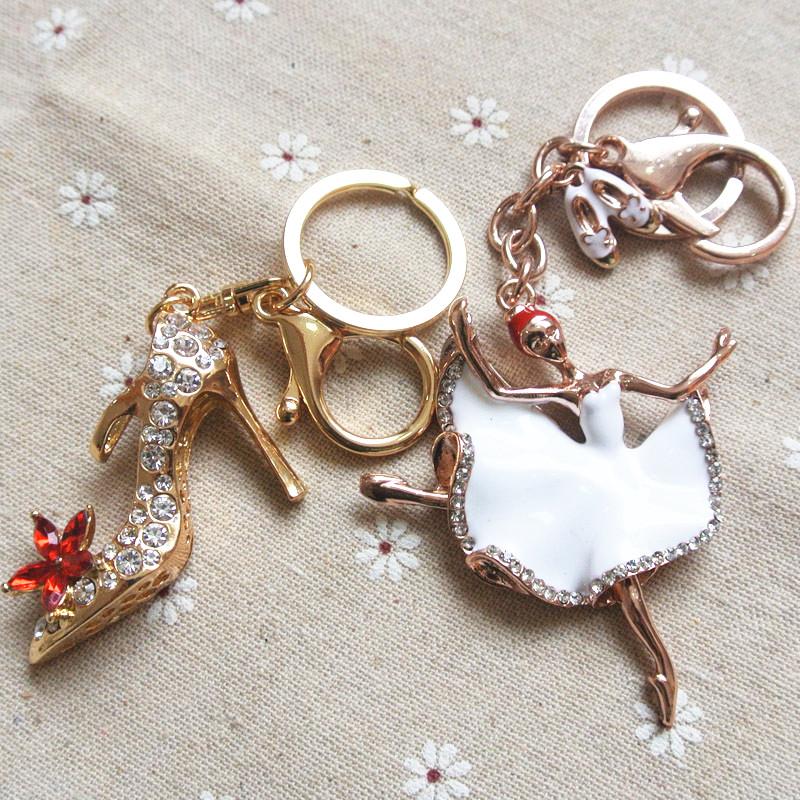 Diamond Car Keychain crystal high heels Car Keychain womens creative Korean bag pendant Keyring Pendant