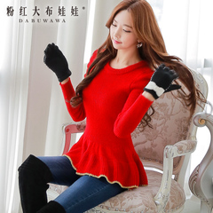 Fall/winter sweater women pink doll 2015 new tide Phnom Penh, skirt red crew neck long sleeve pullover