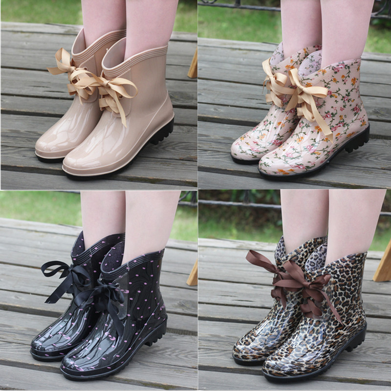 特价时尚短筒女雨鞋韩国雨靴蝴蝶结系带水靴可加棉绒雪地靴套鞋