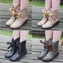 新款时尚短筒女雨鞋韩国雨靴蝴蝶结系带水靴可加棉绒雪地靴套鞋