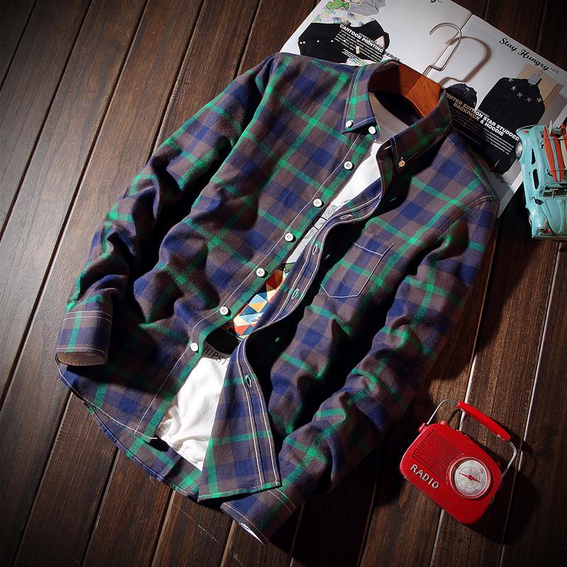 男式長袖襯衫 2016秋裝 男士大碼青少年學生格子男裝襯衣