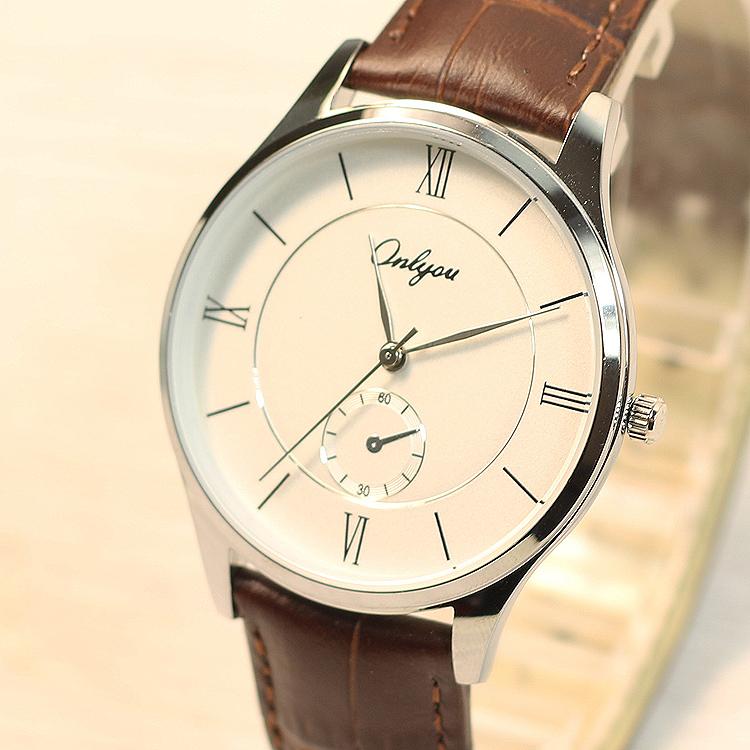 奥利妮时尚情侣表一对复古简约大表盘男士手表女防水皮带石英腕表