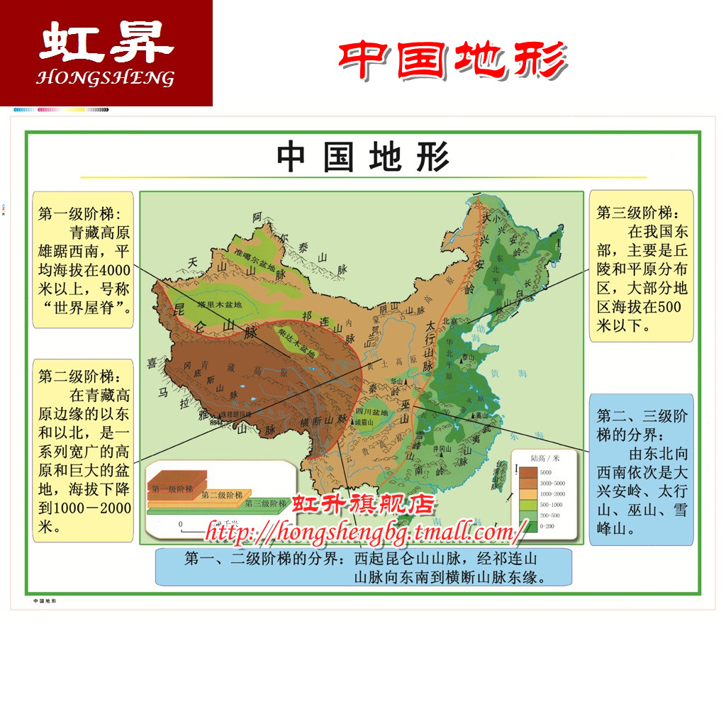 59002 中国地形地图 1.05x0.75m 教学挂图系列 中国地图 小学科学 Изображение 1