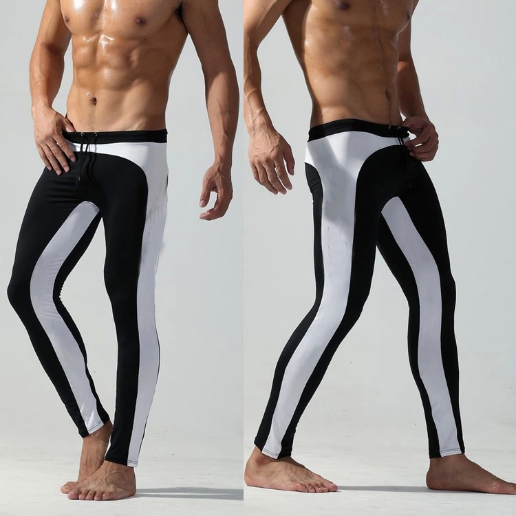 Customized new mens black and white tight long swimming trunks 9-point swimming trunks quick drying swimsuit professional swimsuit