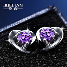 Authentic S925 silver heart-shaped earrings female fashion earrings earrings purple crystal diamond temperament Korea allergy