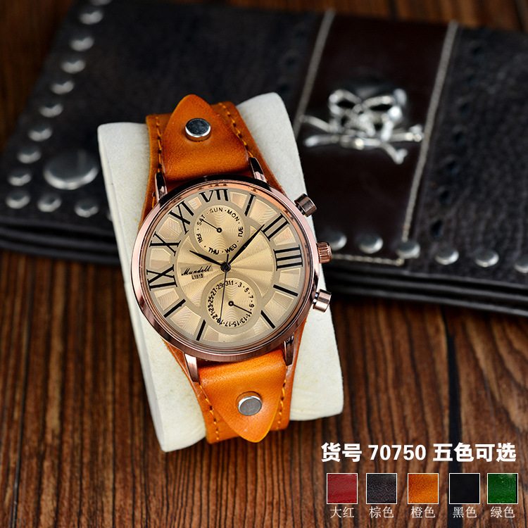 2021 new simple Roman scale large plate leather super cool cowhide watch for male and female students