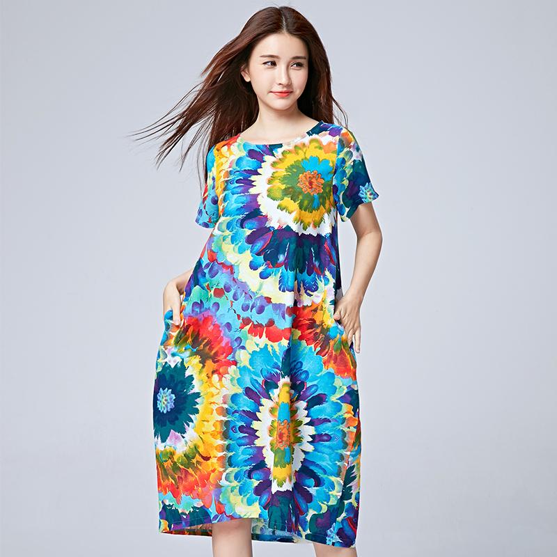 2016夏季新款民族风女装大码中长款短袖印花长裙子气质棉麻连衣裙限时抢购