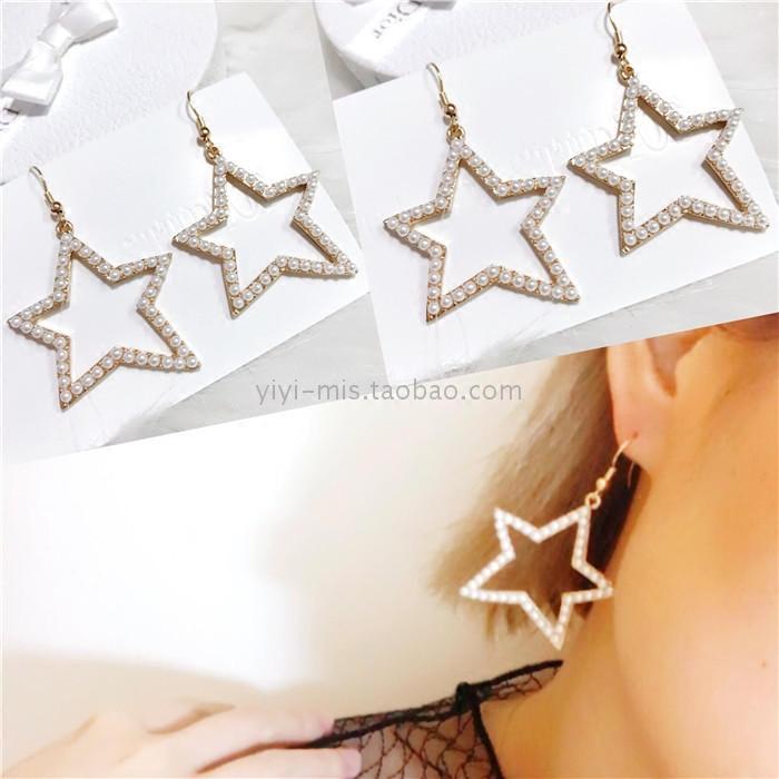 Spring 2017 new Pentagram geometric design pearl series earrings earrings necklace womens jewelry