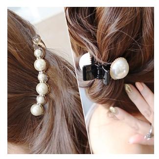 Корея импортные украшения большой жемчужина горный хрусталь волос клип хвост держатель банан клип поймать зажим