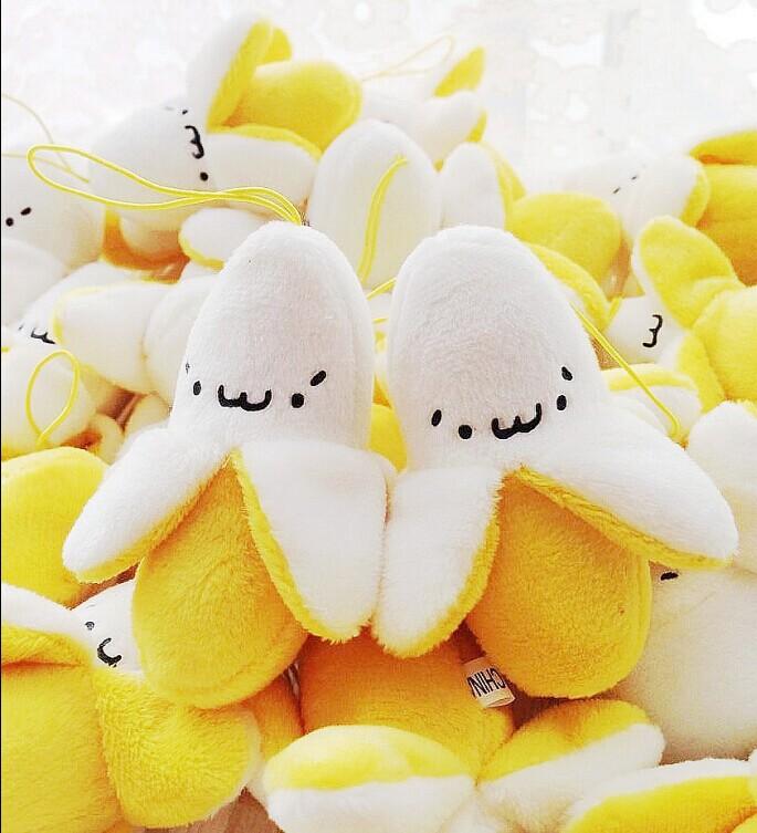 新款可爱剥皮香蕉毛绒手机小挂件韩版创意玩具火热销售中