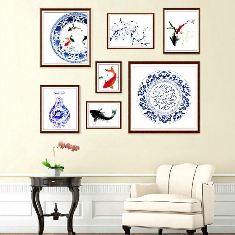 青花瓷十字绣七联画新款客厅简约现代照片墙浪漫餐厅系列三联画
