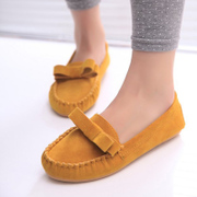 2015 Korean shoes, spring bow shoes peas with low flat, shallow tidal flat casual shoes with round head boom
